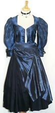 XS 4 / 2 Pcs ~ SILK / BLACK BLUE German DIRNDL Evening Hostess Oktoberfest DRESS