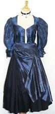 XS 4 / 2 Pcs ~ SILK / BLACK BLUE German DIRNDL Evening Hostess Oktoberfest DRESS