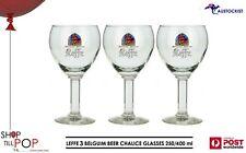 Leffe Belgium 3 x Beer Stemmed Glasses 400ml - (HL) 250ml BNWOB Man cave Brewery