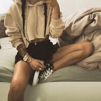 New Women Crop Tops Hoodie Hoody Sweatshirt Jumper Sweater Coat Sports Pullover