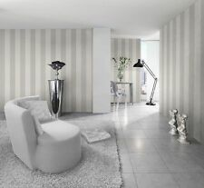 New Rasch Silver and White Wide Stripe Wallpaper 286632