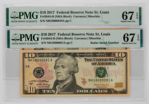 2017 $10 FEDERAL RESERVE NOTES ST.LOUIS MATCHING SERIAL/RADAR PMG SUPERB 67 EPQ