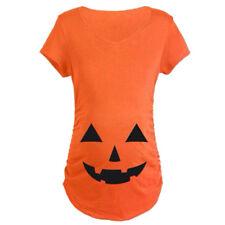 Halloween Women Pregnant Pumpkin Carved Face Maternity T-shirt Pregnancy Top New
