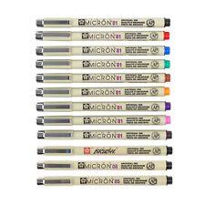 Sakura Pigma Micron 01 Colour Drawing Pen & Brush Art Set Japan | 12 Pens