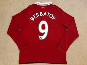 Manchester United Home Football Shirt 2010-2011 Long Sleeve #9 Berbatov XL