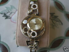 New Q&Q by Citizen Two Tone Lady Fashion Watch wDiamond and White Ring Bezel