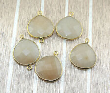 HH4875 Heart Peach Chalcedony Gold Plated Connector DIY Designer Jewelry 5 Pcs