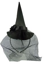 Halloween Black Witch Hat with Veil Headband Accessory