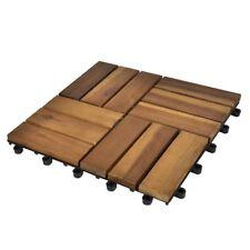 #10xdiy Acacia Wooden Interlocking Decking Tiles Garden Timber Flooring 300x300m