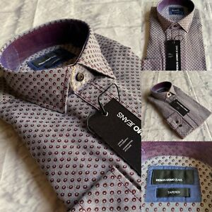 Remus Uomo Tapered Fit Shirt, Grey, All Sizes, 100% Cotton, Italian Style, BNWT