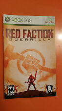 Xbox 360 Red Faction Guerrilla  Instruction Booklet Insert Only Microsoft