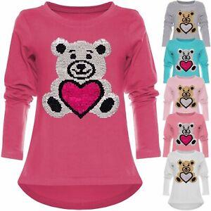Kinder Mädchen Wende Pailletten Sweatshirt Pullover Pulli Langarmshirt Top 21718
