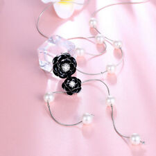 18K White Gold Plated CZ Crystal Pearl Black Flower Long Chain Necklace