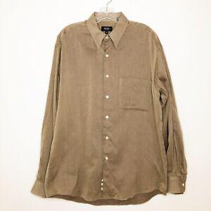 Boss Hugo Boss Men's Textured Tan Button Down Shirt Dress Shirt size 42 16 1/2