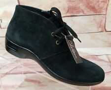 NWOB Cole Haan Air Black Suede Ankle Boots Wedge Waterproof Women's Size 8 AA