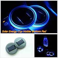 2* Blue Solar Cup Holder Bottom Pad Mat LED Light Trim For All Cars All Models