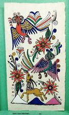 VINTAGE AMATE BARK PAPER PAINTING 6 x 3.50 INCHES COLOR on WHITE FROM MEXICO #16