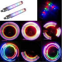 HOT Bike Bicycle Wheel Tire Valve Cap Spoke Neon 5 LED Lights Lamp Reflectors