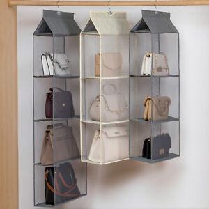 2/3/4 Pockets Shelf Storage Hanging Bag Handbag Organizer Holder Wardrobe Closet