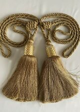 "Designer Curtain Tiebacks Pair Rope Tassels 39"" embrace Gold Beaded HUGE"