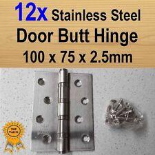 12x Door Butt Hinges Ball Bearing - Stainless Steel