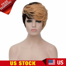Womens Short Wavy Cosplay Full Wigs Black Gold Streaked Costume Anime Hair Wig
