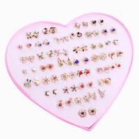 36Pair Elegant Women Girls Crystal Diamante Flower Stud Earrings Jewelry Set