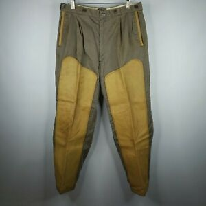 Vintage 10-X Mens Khaki Beige Yellow Leather Duck Hunting Pants 34 X 30