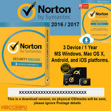 Norton Internet Security Deluxe 3 Device - 1 Year Latest 2016 2017 -  Key only