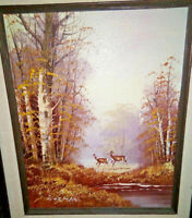 Whitetail Deer Oil Painting Fall Forest Landscape Crossing Stream Signed Gorman