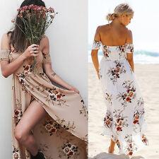 Womens Off Shoulder Floral High Split Summer Beach Boho Sundress Long Maxi Dress
