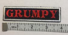 "Custom  Biker Vest Patch ""GRUMPY""  4""X 1""  RED with WHITE BOARDER"