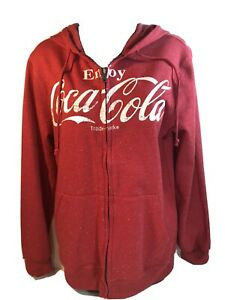 COCA-COLA Mens S - Cotton Blend RED Full Zip Hoodie Hooded Sweatshirt