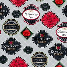 Kentucky Derby Badges 100% cotton Fabric by the yard