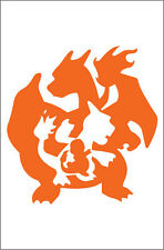 Quality Out Door Vinyl Sticker Charmander, Charmeleon, Charizard Pokemon 7x6 In