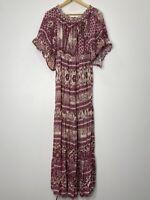 Jaase Off Shoulder Boho Maxi Dress With Ruffle Flared Sleeves Size S EUC