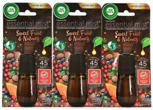 (3) Air Wick Essential Mist Sweet Fruit & Nutmeg Fragrance Refill 0.67 Oz