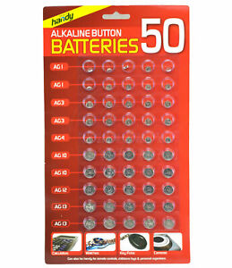 50PCS ASSORTED BUTTON CELL WATCH BATTERIES AG 1 / 3 / 4 / 10 / 12 / 13