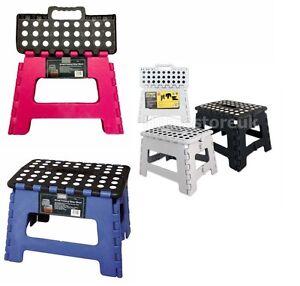 ANTI SKID STRONG FOLDING STEP STOOL FOLDABLE SEAT STURDY PLASTIC PORTABLE TRAVEL