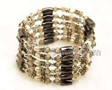 SALE White Baroque Natural Pearl and Gray Crystal & Hematite 36'' Bracelet-br356