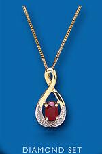 Ruby and Diamond Pendant Yellow Gold Oval Necklace
