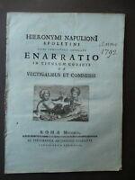 Spoleto Libri Antichi Napulioni H. Codici Antichi Vectigalibus et Commissis 1792