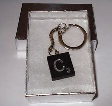 """C"" BLACK  SCRABBLE WOOD TILE KEY CHAIN  RING  KEYCHAIN"