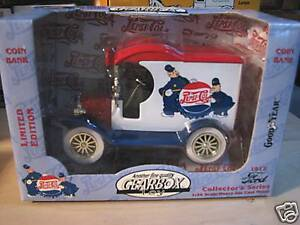 """1996 GEARBOX TOY (PEPSI-COLA.) 1912 FORD MODEL """"A"""" BANK. NIB"""