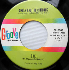 GINGER & THE CHIFFONS orig. GROOVE 45 SHE b/w WHERE WERE YOU LAST NIGHT   FM250