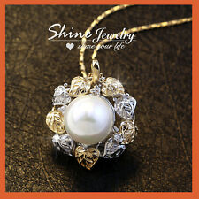 18K GOLD GF FRESHWATER PEARL FILIGREE GARLAND TREE LIFE SOLID PENDANT NECKLACE