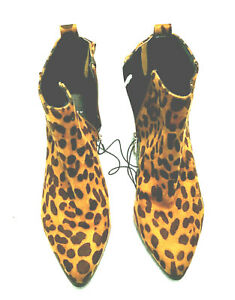 A New Day-New Animal Leopard Print Fabric Zip Up Ankle Boots Size 7.5