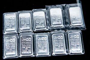 10 JOHNSON MATTHEY 1-oz one ounce Silver Bars