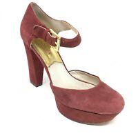 Women's Michael Kors Strappy Sandals Heels Shoes Size 8M Burgundy Suede AF5