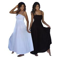 Sundress Maxi Long Dress - Beach Boho Basic Black Elasticized Bodice T180A